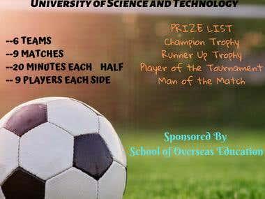 Poster design for university football tournament