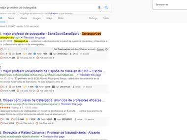 First Page Ranking : Sanasport.es