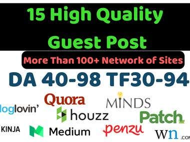 Write and publish 15 guest post on high da and tf sites