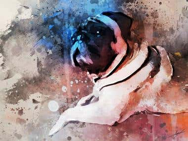 Water color Phostoshop effect on picture