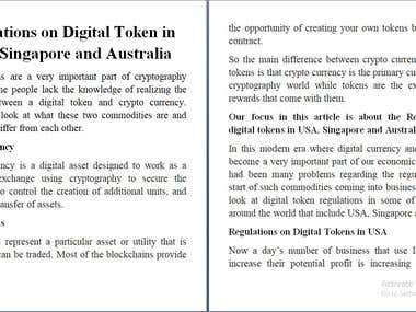 Content Writing On Digital Token
