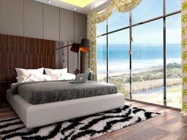 Ocean side Bedroom Interior design and Render.