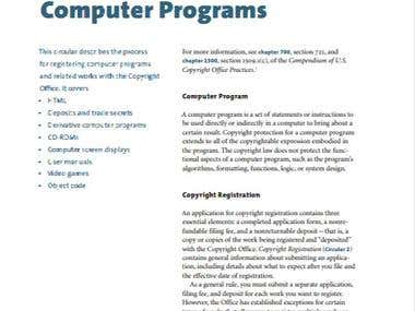 Copyright Registration of Computer Programs