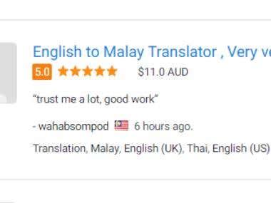 English, Indonesia, Thai Translation