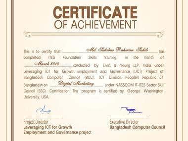 Certificate of Digital Marketing Course