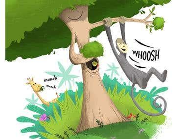 Monkey Illustration for Children's Book