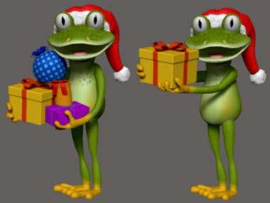 Cartoon christmas frog models