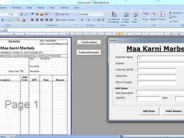 Excel Invoice Generate & Printing