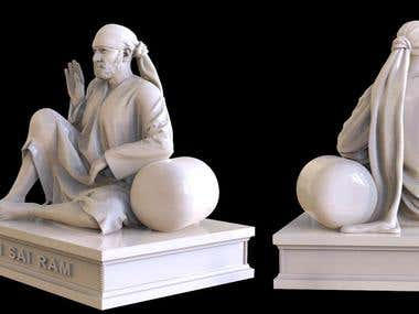 Sai Baba statue modeling for 3d printing and manufacturing