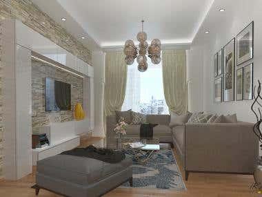 3D Living room design&render