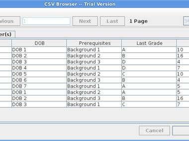 CSVBrowser Screen Shots