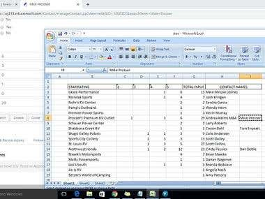 Sample of Data Entry Task