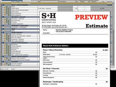 Estimating System - High-end General Contractor