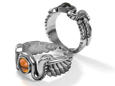 Winged sun ring design