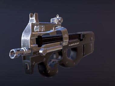 P90 gun Low poly