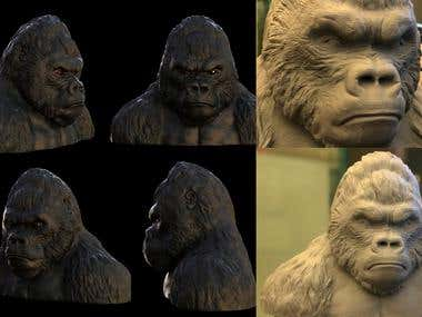 Gorilla bust modeling for printing