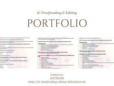 JC Proofreading & Editing Portfolio
