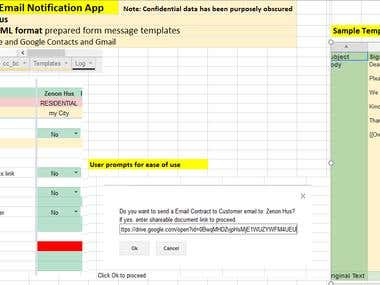 Google Sheets, Project Management Email Notification App