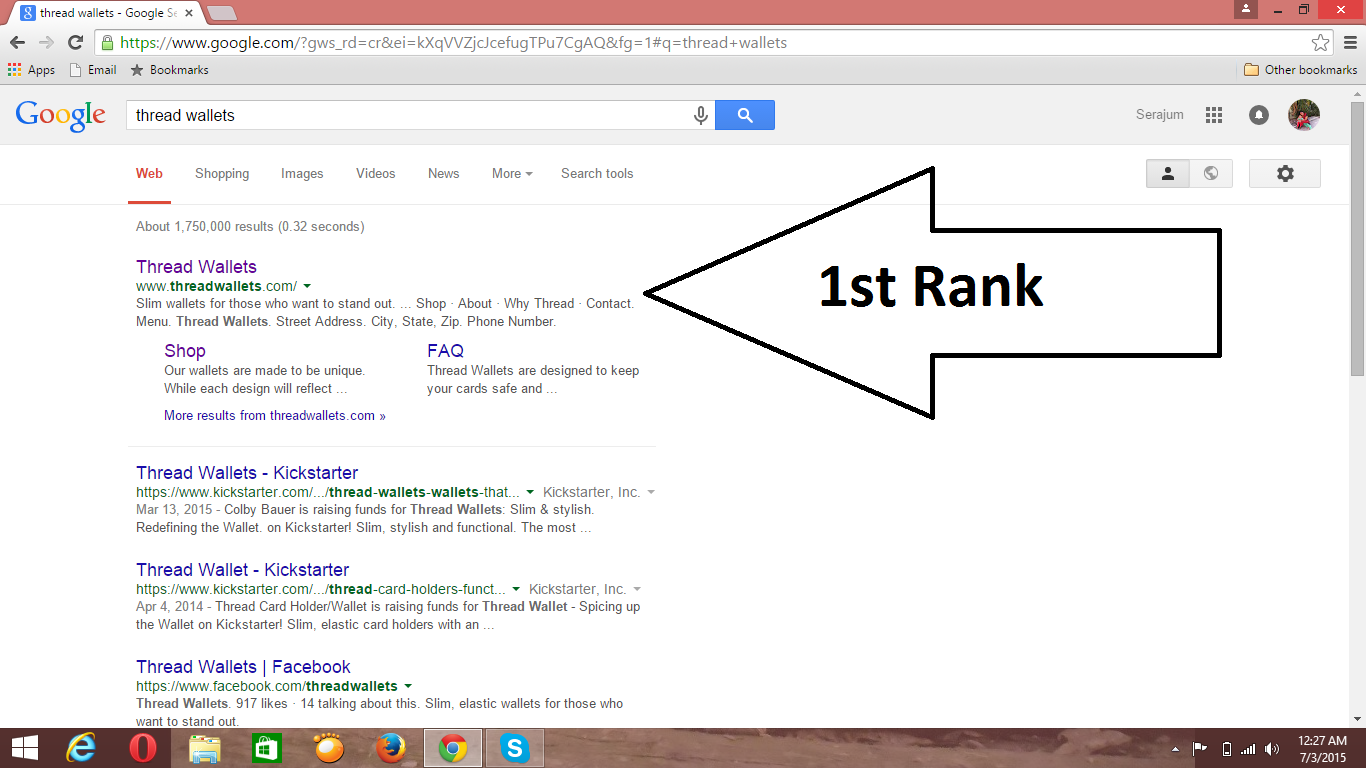 First Page Ranking for my project.