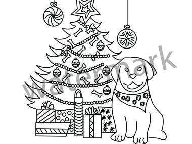 Christmas line art design