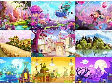 SCENES, ILLUSTRATIONS, BACKGROUNDS