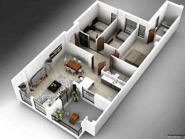 3D Modeling-Departments/Modelado 3D-Departamentos