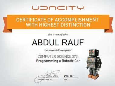 UDACITY CS373 certificate