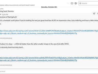 NodeJS - Yelp Slack Bot