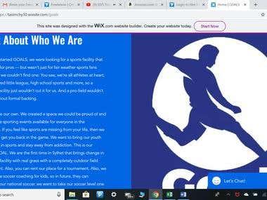 Website design for a indoor soccer field