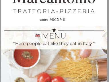 Italian restaurant Menu card