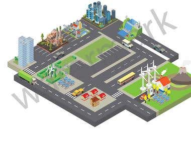 isometric building drawing in vector format..