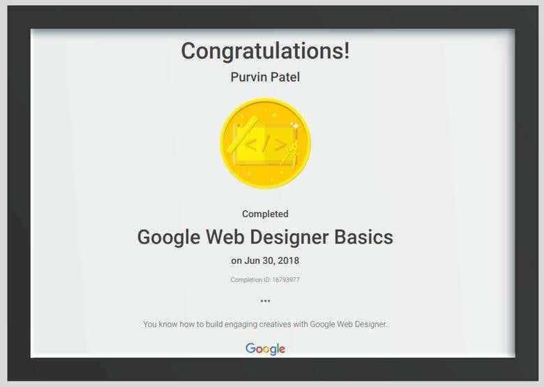 Google Web Designer Certification Freelancer