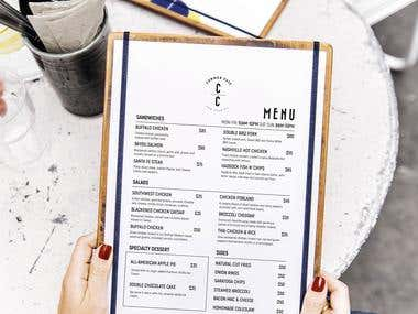 Menu design for the 'Common Cafe'