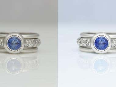 Platinum Sapphire and Diamonds ring before and after