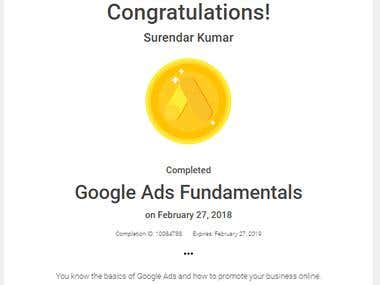 Google Ads Fundamental Certificate.