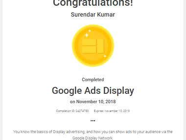 Google Display Certificate.