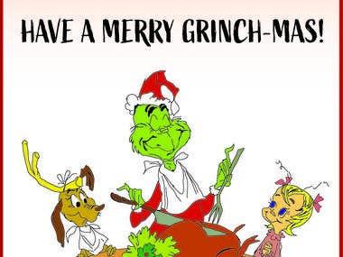 Hand-Drawn Grinch Christmas Card