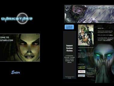 Game site landing page and news page.