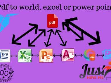PDF to excel, word etc