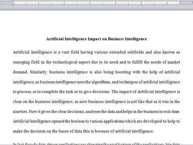 Artificial Intelligence Impact on business intelligence