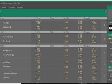 Bet365 Extract data from live website .