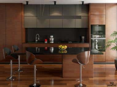 3d interior visualization kitchen