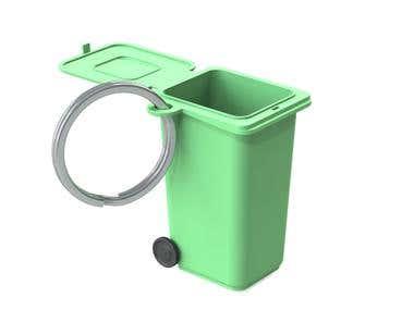 Keyring recycle bin figurine