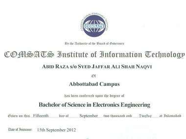 Bachelors in Electrical Engineering (Electronics Engineerin)