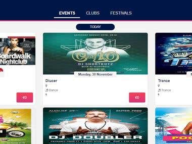 Events and clubs booking system (https://nighter.win)