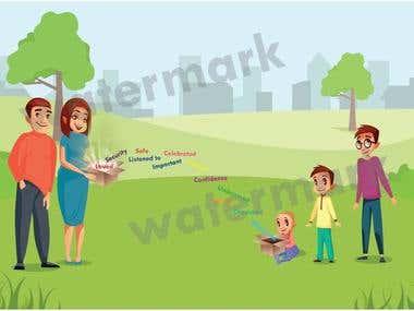 2d illustration design .. on story board based...
