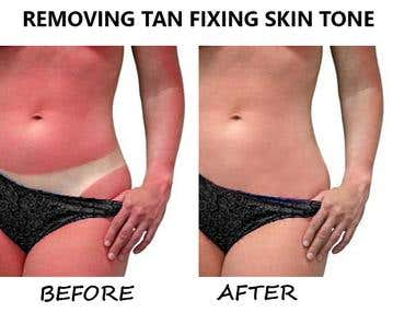 Removing tan lines and color correcting skin