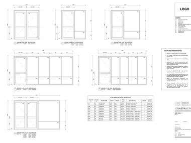 Doors & Windows Details Drafted on AutoCAD
