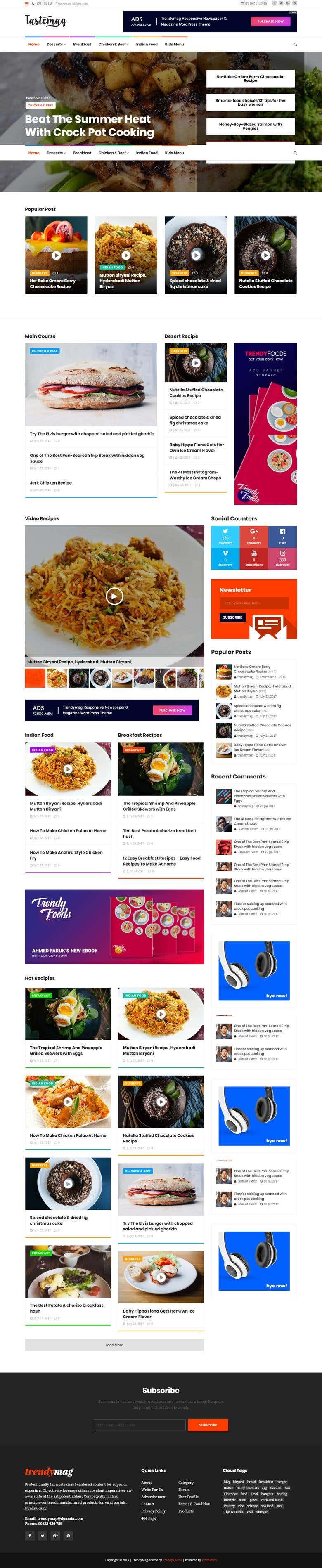 WordPress Food Magazine & Blog site | Freelancer