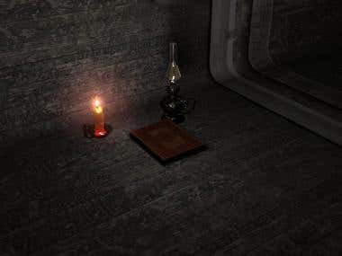 Book. candle and lamp scene